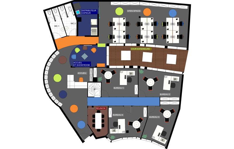 architecte de bureau amso plan d 39 am nagement de bureau plan d 39 am nagement tertiaire space. Black Bedroom Furniture Sets. Home Design Ideas
